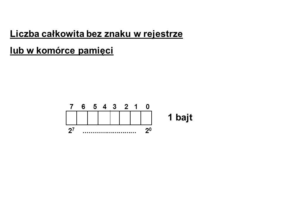 Liczba całkowita bez znaku w rejestrze lub w komórce pamięci