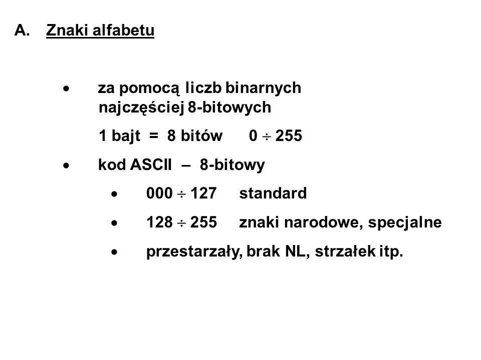 A. Znaki alfabetu · za pomocą liczb binarnych najczęściej 8-bitowych. 1 bajt = 8 bitów 0  255.