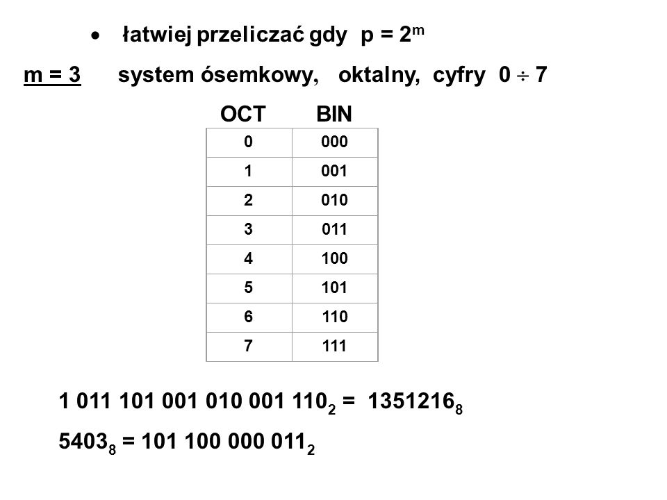 · łatwiej przeliczać gdy p = 2m