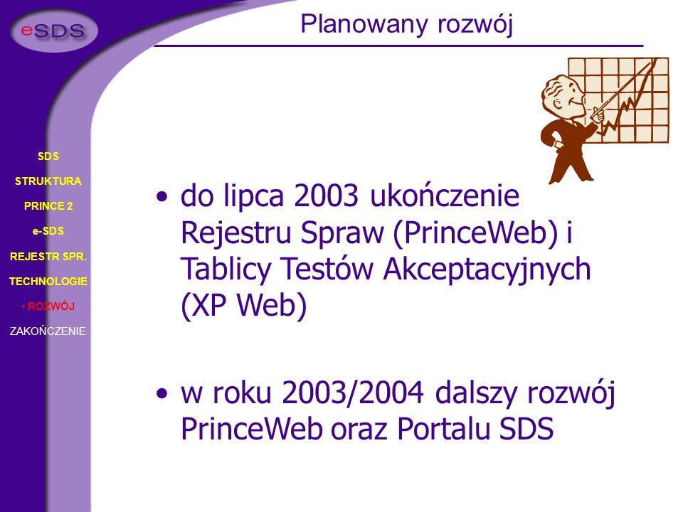 w roku 2003/2004 dalszy rozwój PrinceWeb oraz Portalu SDS