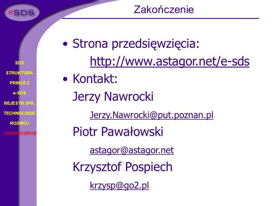 Strona przedsięwzięcia: http://www.astagor.net/e-sds Kontakt: