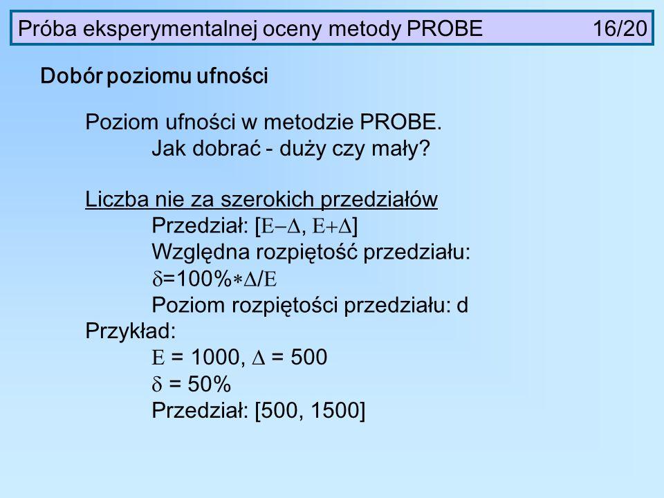 Próba eksperymentalnej oceny metody PROBE 16/20