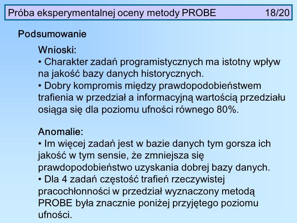 Próba eksperymentalnej oceny metody PROBE 18/20