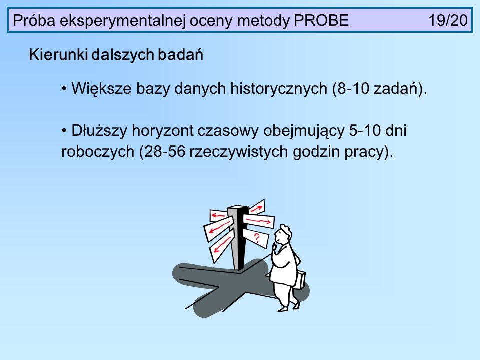 Próba eksperymentalnej oceny metody PROBE 19/20