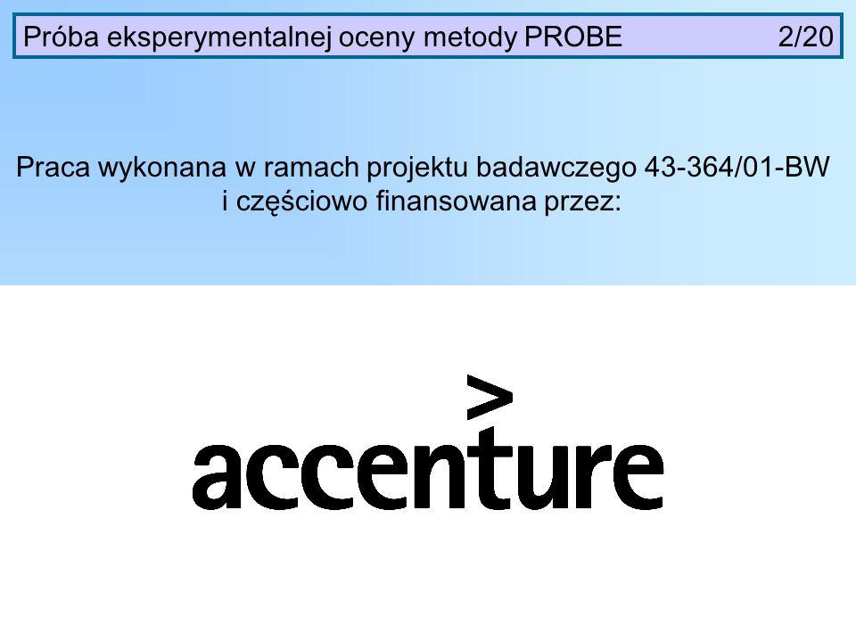 Próba eksperymentalnej oceny metody PROBE 2/20