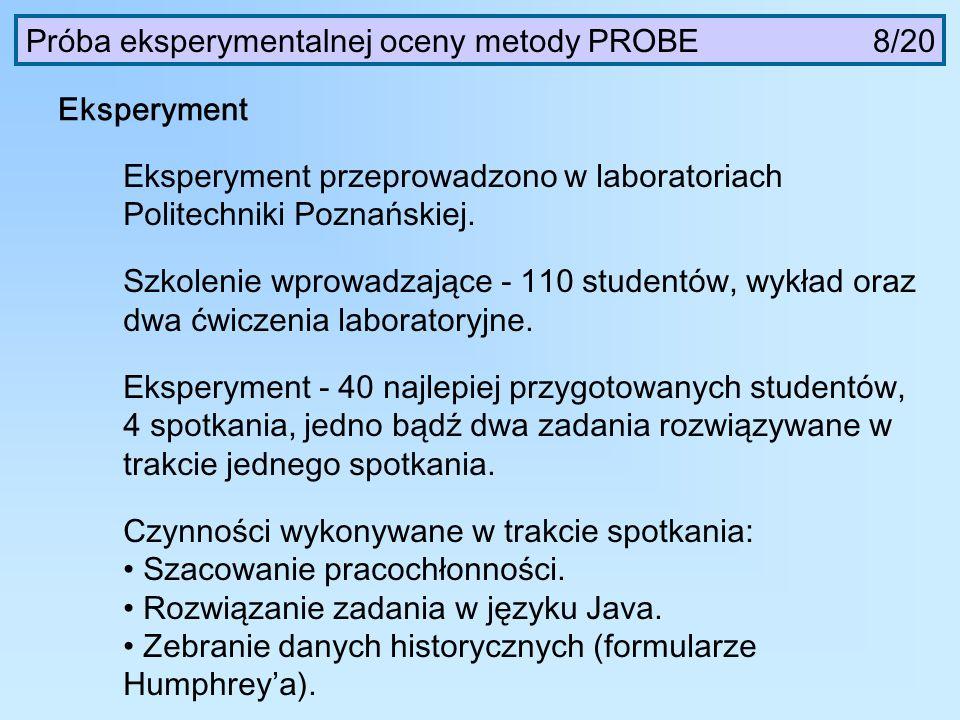 Próba eksperymentalnej oceny metody PROBE 8/20