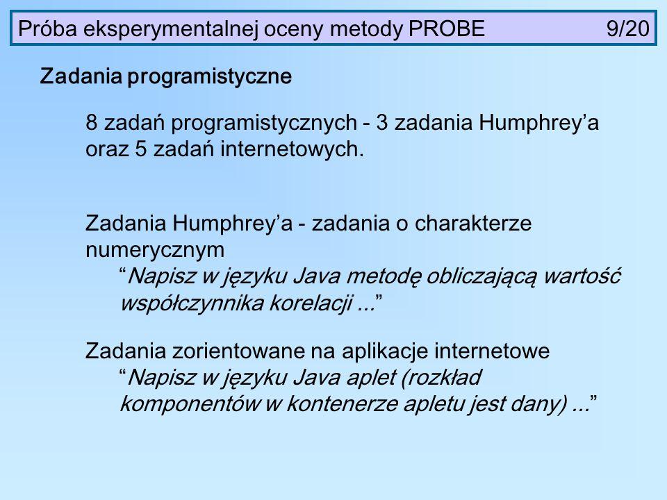 Próba eksperymentalnej oceny metody PROBE 9/20