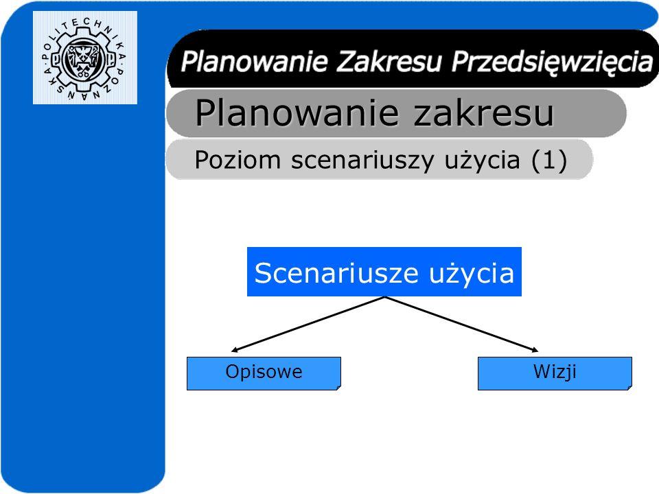Planowanie zakresu Scenariusze użycia Poziom scenariuszy użycia (1)