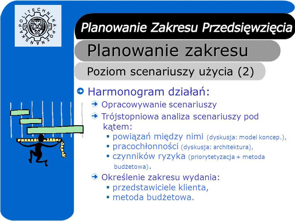 Planowanie zakresu Poziom scenariuszy użycia (2) Harmonogram działań: