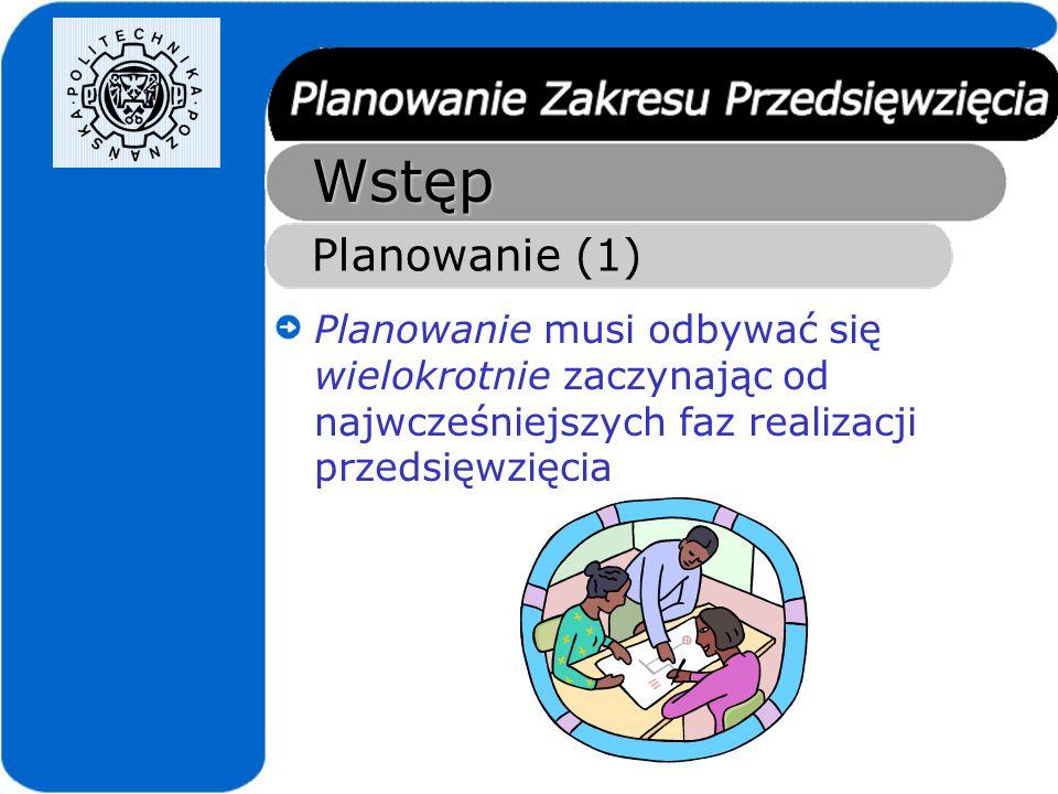 Wstęp Planowanie (1) Planowanie musi odbywać się