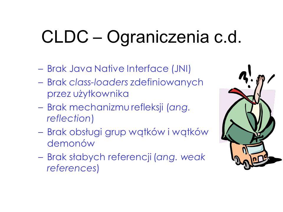 CLDC – Ograniczenia c.d. Brak Java Native Interface (JNI)