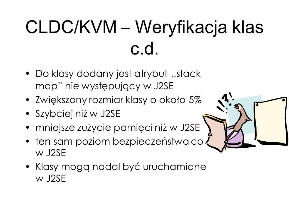 CLDC/KVM – Weryfikacja klas c.d.