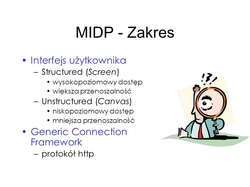 MIDP - Zakres Interfejs użytkownika Generic Connection Framework