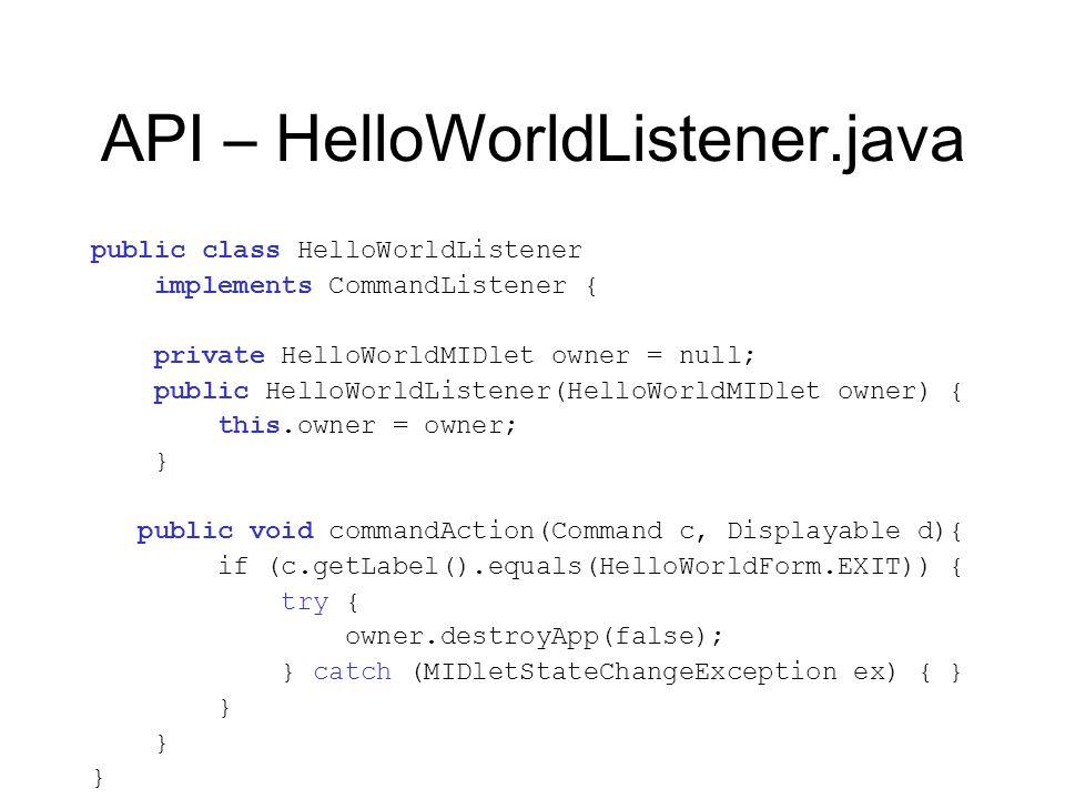 API – HelloWorldListener.java