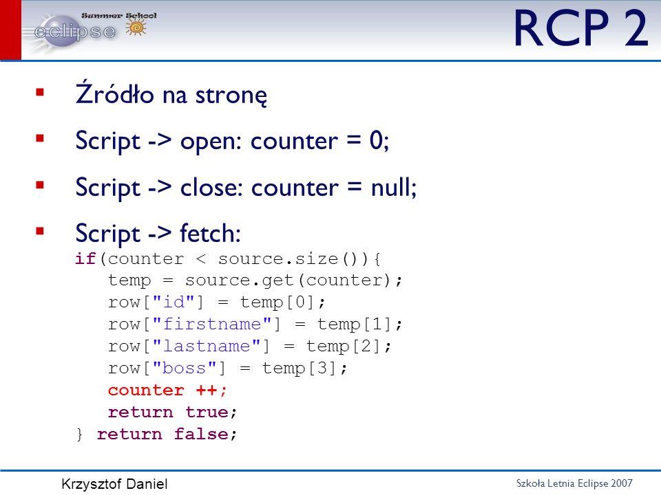 RCP 2 Źródło na stronę Script -> open: counter = 0;