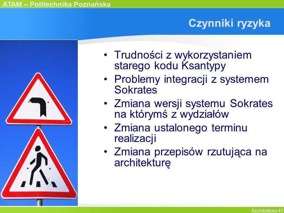 Czynniki ryzykaTrudności z wykorzystaniem starego kodu Ksantypy. Problemy integracji z systemem Sokrates.