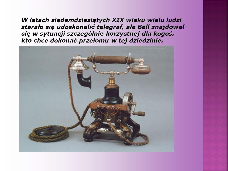 W latach siedemdziesiątych XIX wieku wielu ludzi starało się udoskonalić telegraf, ale Bell znajdował się w sytuacji szczególnie korzystnej dla kogoś, kto chce dokonać przełomu w tej dziedzinie.