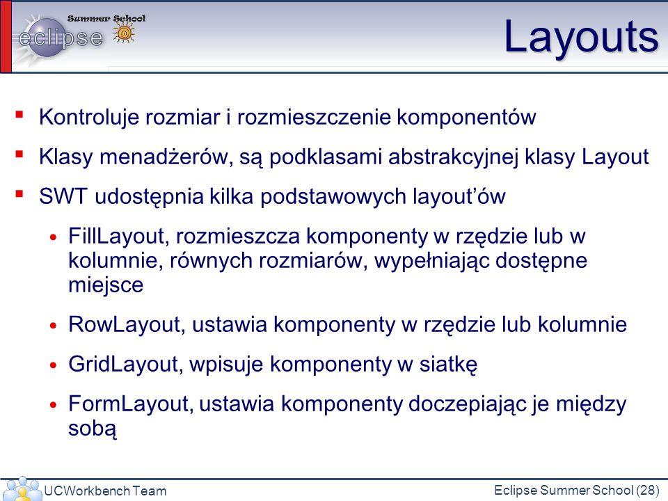 Layouts Kontroluje rozmiar i rozmieszczenie komponentów