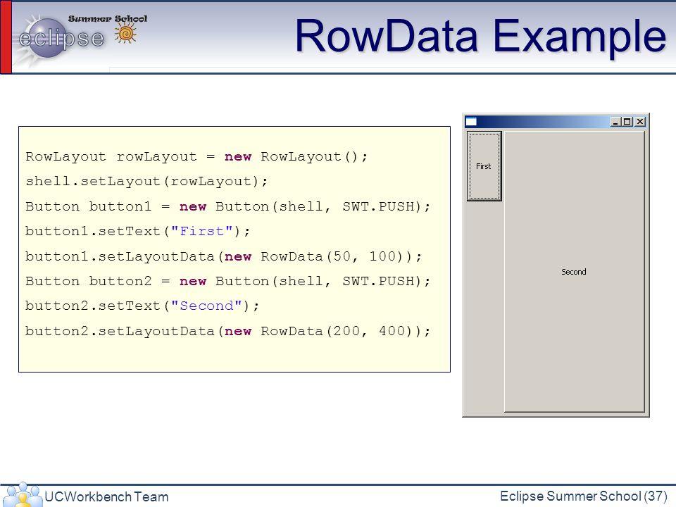 RowData Example RowLayout rowLayout = new RowLayout();