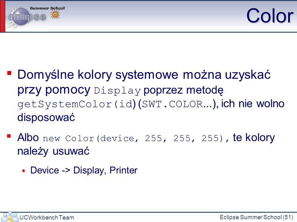 Color Domyślne kolory systemowe można uzyskać przy pomocy Display poprzez metodę getSystemColor(id) (SWT.COLOR...), ich nie wolno disposować.