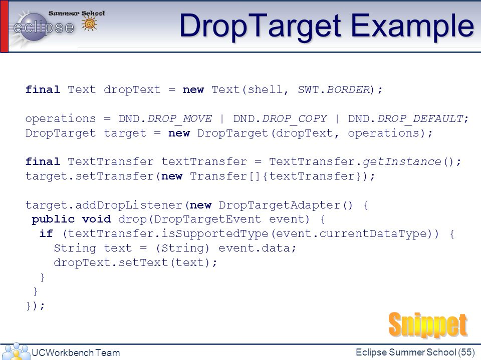 DropTarget Example Snippet