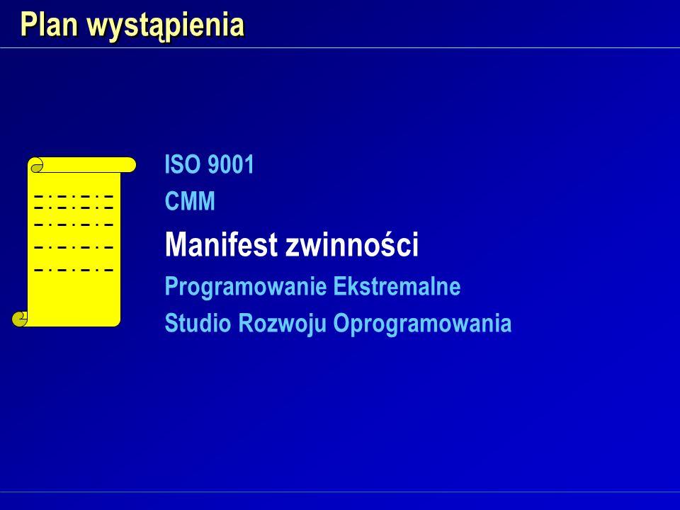 Plan wystąpienia Manifest zwinności ISO 9001 CMM