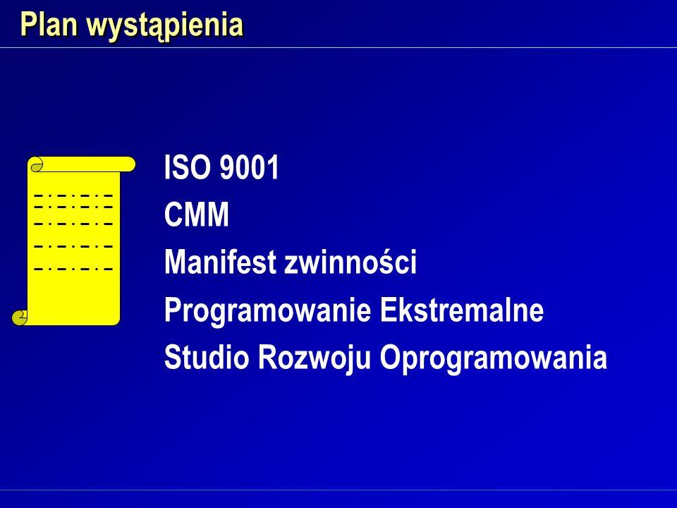 Plan wystąpienia ISO 9001. CMM. Manifest zwinności.