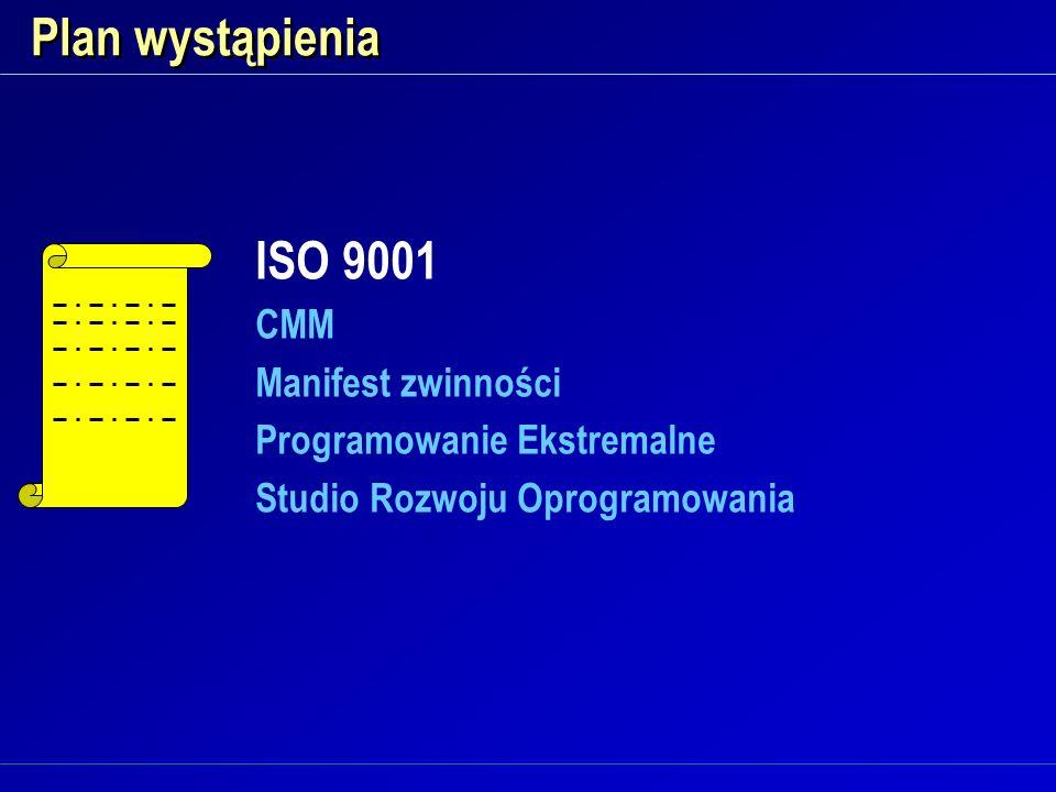 Plan wystąpienia ISO 9001 CMM Manifest zwinności