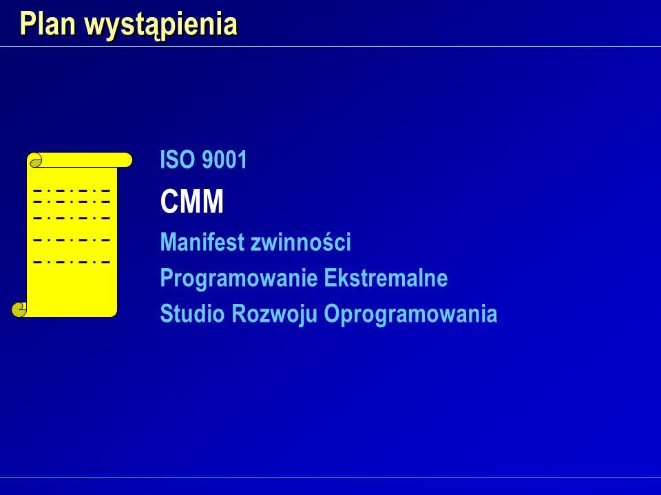 Plan wystąpienia CMM ISO 9001 Manifest zwinności