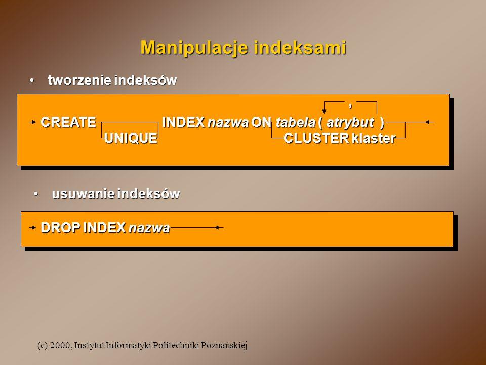 Manipulacje indeksami