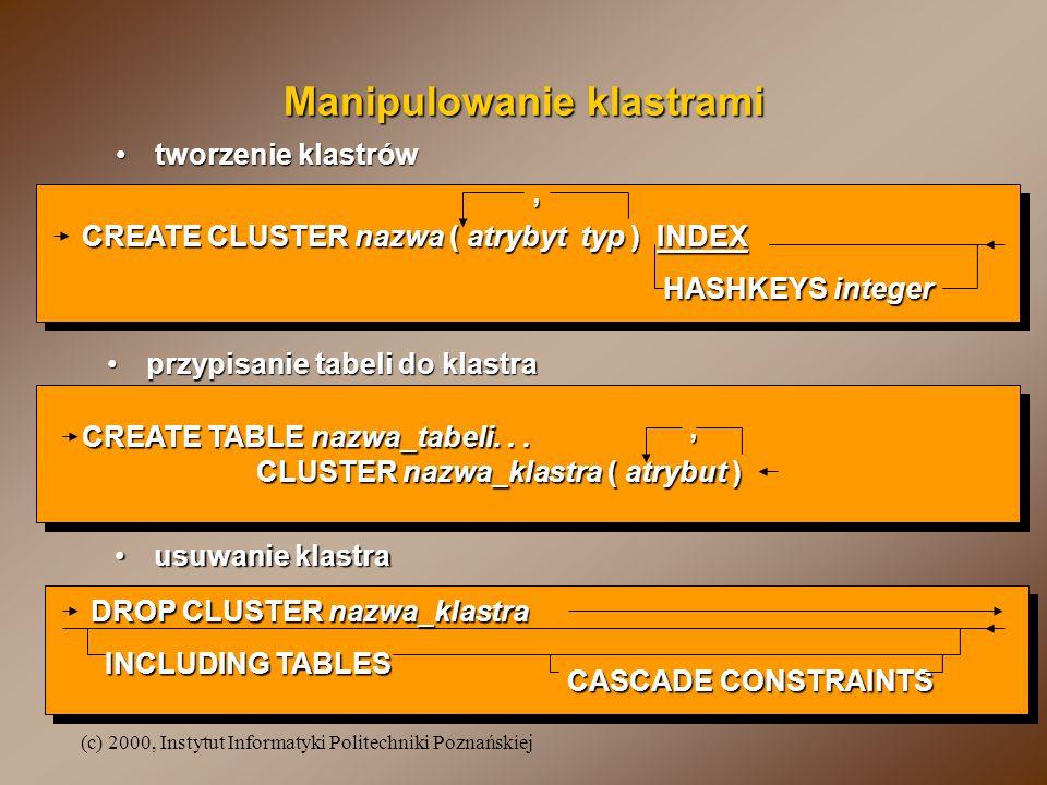 Manipulowanie klastrami