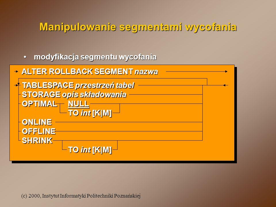Manipulowanie segmentami wycofania
