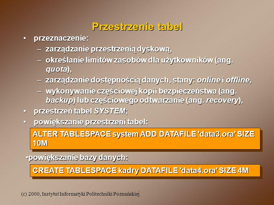 Przestrzenie tabel przeznaczenie: zarządzanie przestrzenią dyskową,