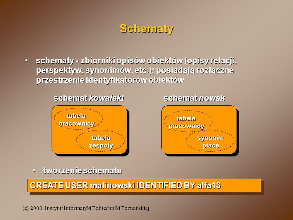 Schematy schematy - zbiorniki opisów obiektów (opisy relacji, perspektyw, synonimów, etc.); posiadają rozłączne przestrzenie identyfikatorów obiektów.