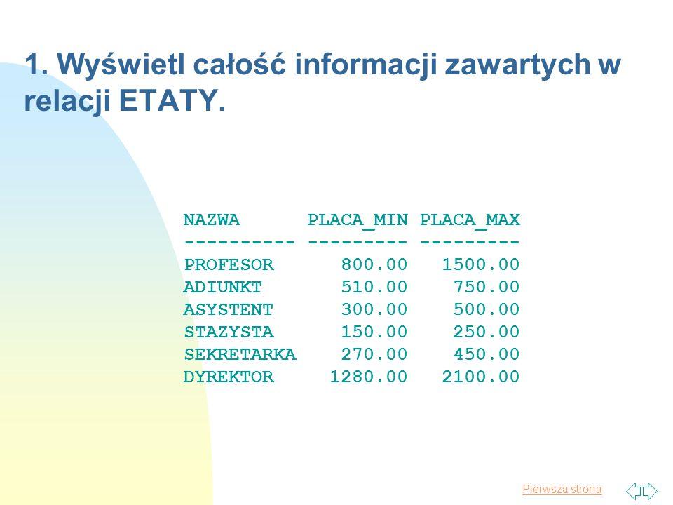 1. Wyświetl całość informacji zawartych w relacji ETATY.