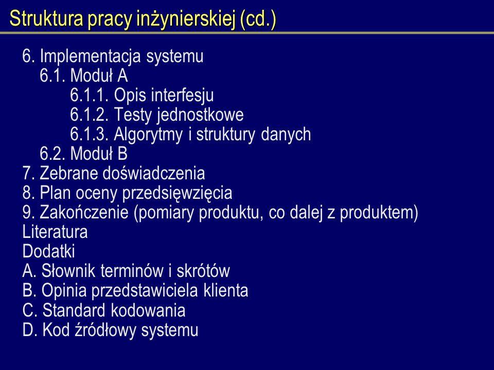 Struktura pracy inżynierskiej (cd.)