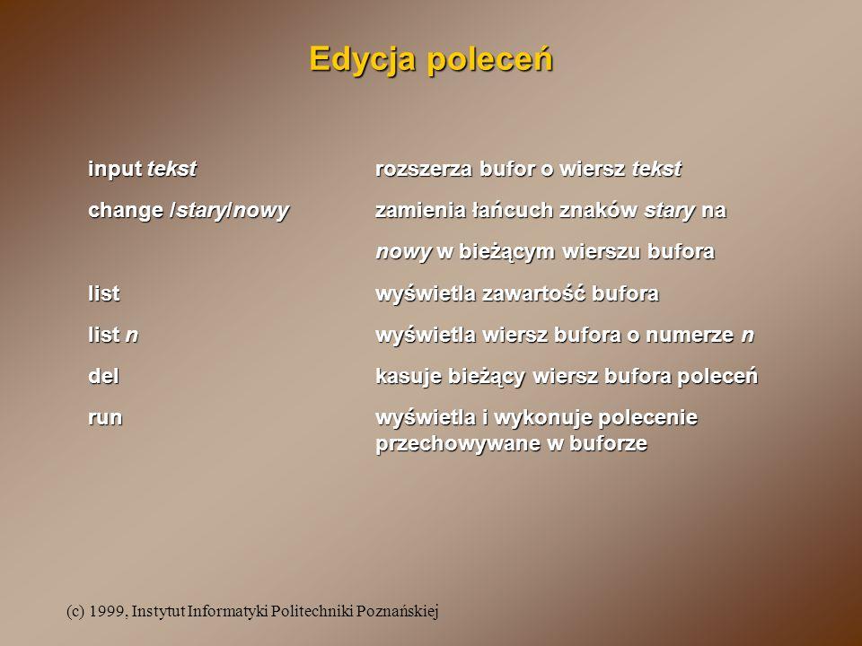 Edycja poleceń input tekst rozszerza bufor o wiersz tekst