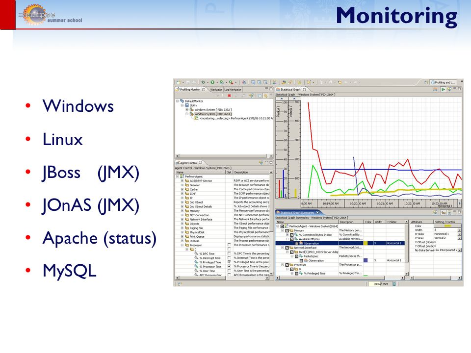 Monitoring Windows Linux JBoss (JMX) JOnAS (JMX) Apache (status) MySQL