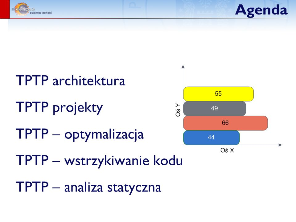 Agenda TPTP architektura. TPTP projekty. TPTP – optymalizacja.