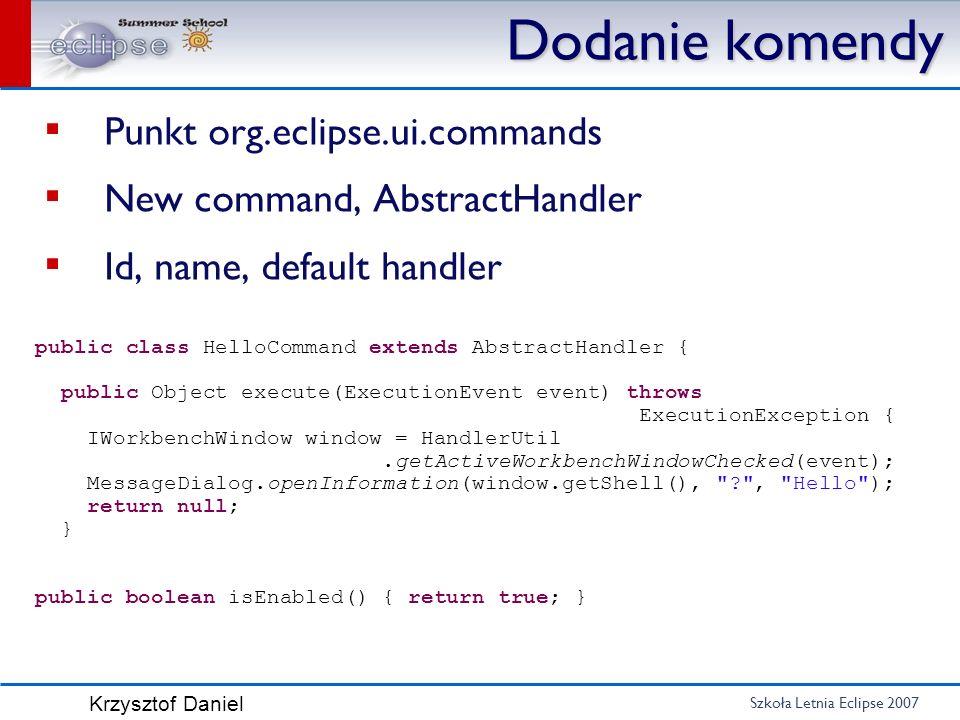 Dodanie komendy Punkt org.eclipse.ui.commands