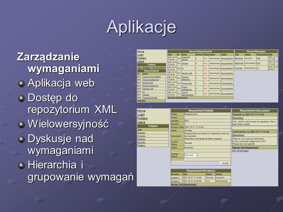 Aplikacje Zarządzanie wymaganiami Aplikacja web