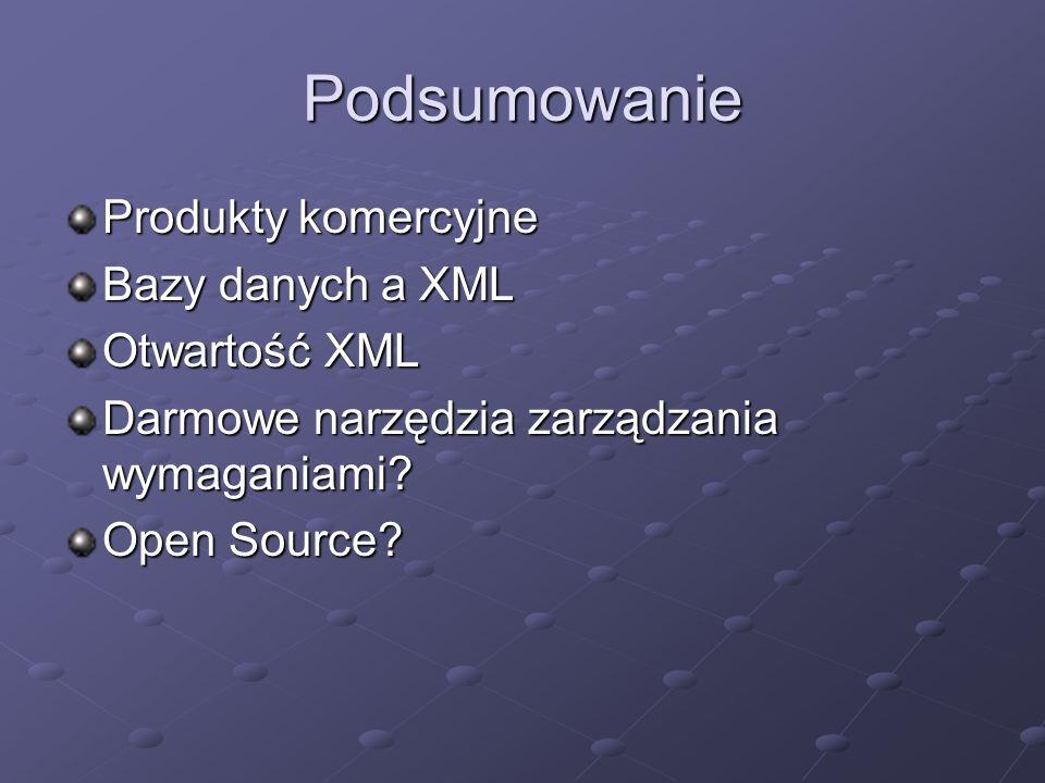 Podsumowanie Produkty komercyjne Bazy danych a XML Otwartość XML