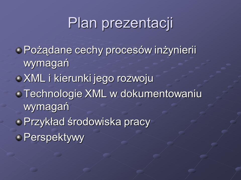 Plan prezentacji Pożądane cechy procesów inżynierii wymagań