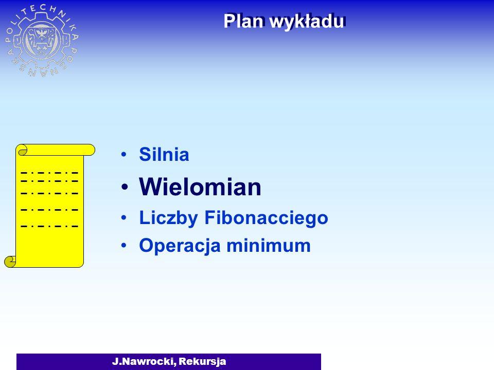 Wielomian Plan wykładu Silnia Liczby Fibonacciego Operacja minimum