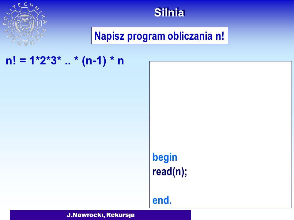 Napisz program obliczania n!