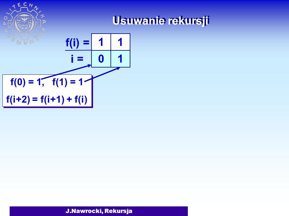 Usuwanie rekursji f(i) = i = 1 1 f(0) = 1, f(1) = 1