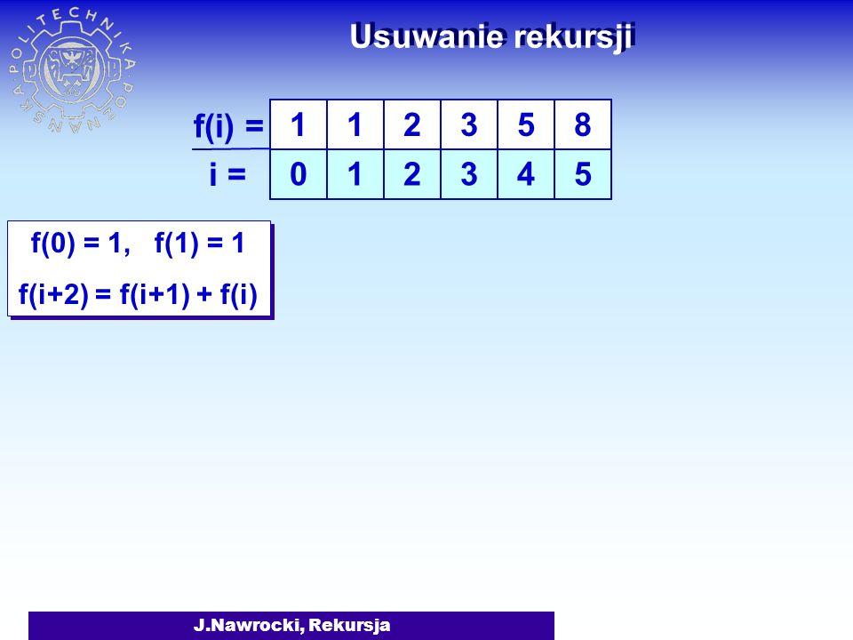 Usuwanie rekursji f(i) = i = 1 1 2 3 5 4 8 5 f(0) = 1, f(1) = 1