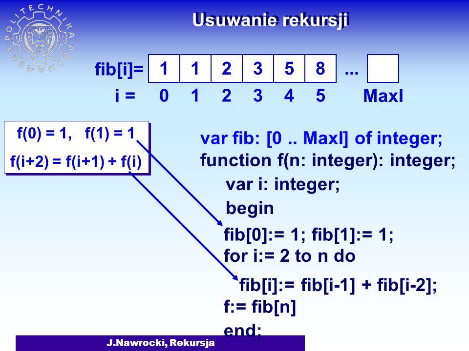 Usuwanie rekursji 1 1 2 3 5 8 ... i = 1 2 3 4 5 MaxI
