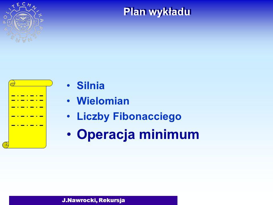 Operacja minimum Plan wykładu Silnia Wielomian Liczby Fibonacciego