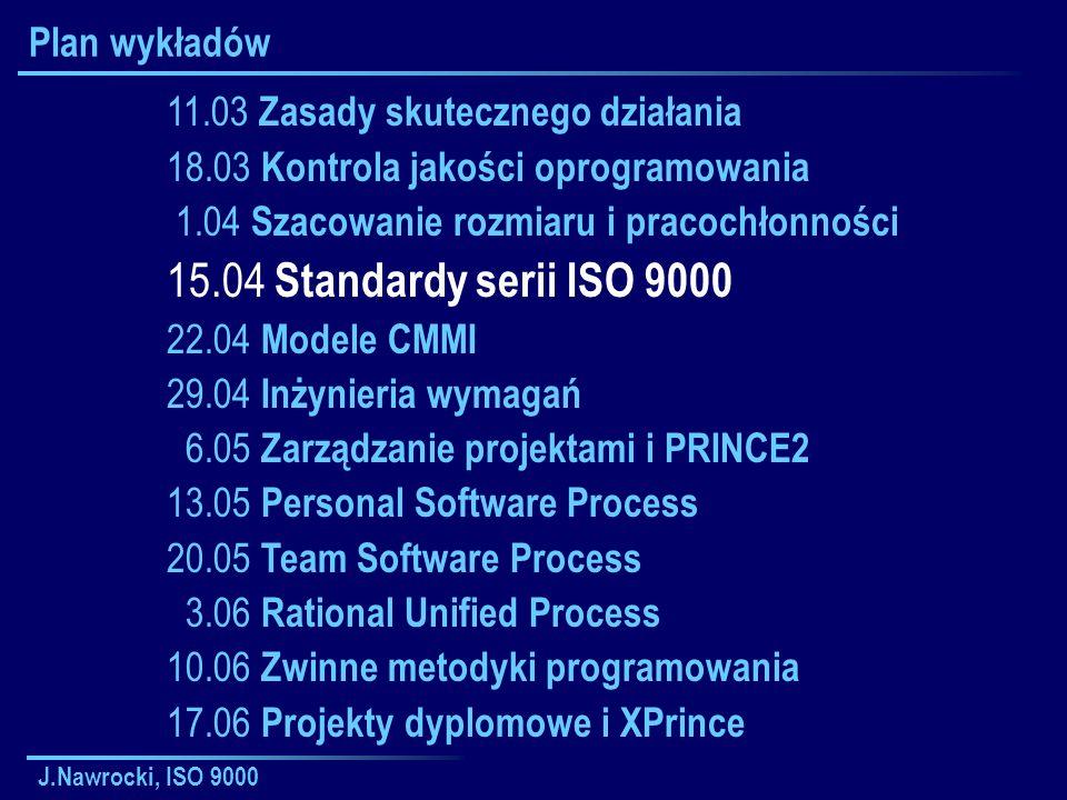 15.04 Standardy serii ISO 9000 Plan wykładów